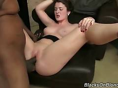 Naughty white chick widely spreads her legs for tough black guy.