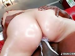 Sweetie moves her booty up and down partner`s insane cock.