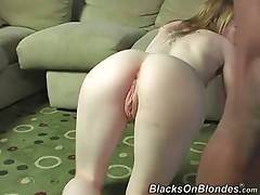 Babe can`t wait to have her pussy planted with big black dick.