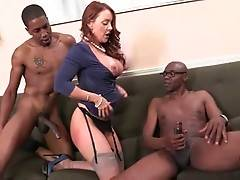 Horny Black Dad And Son Are Sharing White Lady 2