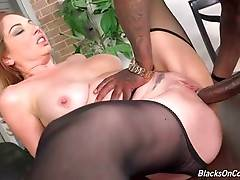 Two horny black dudes double drill nasty mature white slut.